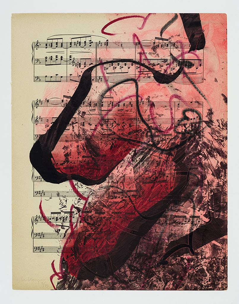 Musical drawing #5, acrylic and ink on partition, 36 x 30 cm, 2020