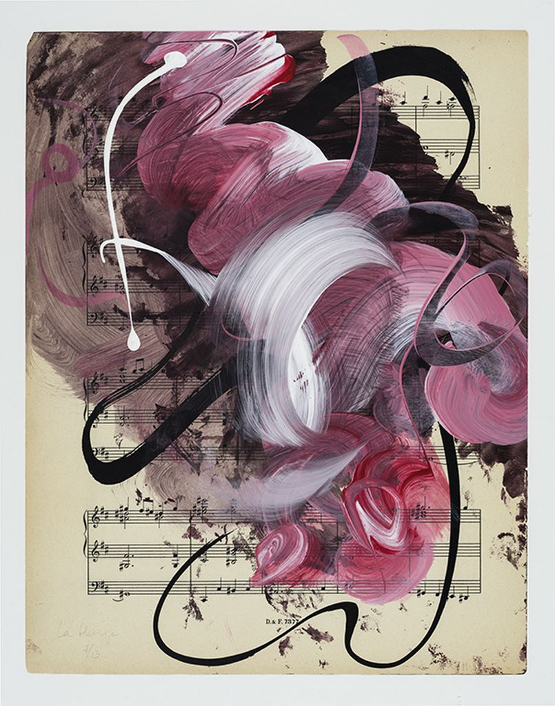 Musical drawing #7, acrylic and ink on partition, 36 x 30 cm, 2020